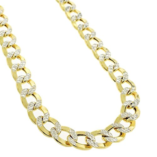 (NYC Sterling Unisex Silver 5mm Two Tone Miami Cuban Chain Necklace 18'-30' (18 Inch))