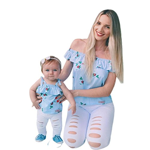 Price comparison product image Rucan Mommy & Me Mom & Baby Parent-Child Floral Print Sleeveless Ruffles T Shirt Family Matching Clothes Outfits (Blue,  Mom Large)
