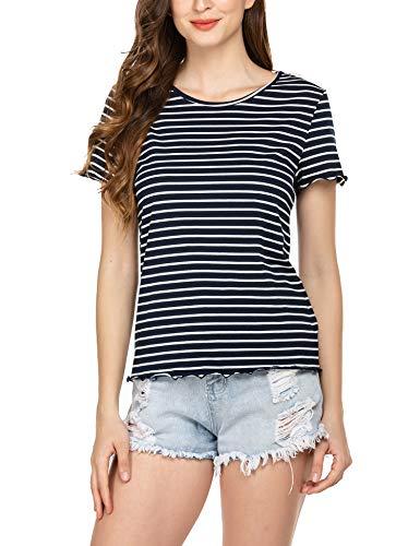 SoTeer Women's Stripe Tops Casual Round Neck Slim Fit Short Sleeve T-Shirt Blouse Tops,Navy Blue,Medium