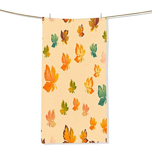 (100% Cotton Autumn Leaves Seamless Pattern Vector Background Red Yellow and Green Maple Leaf for The Design of Wallpaper Novelty Christmas Bathroom Towel -Size:11.8