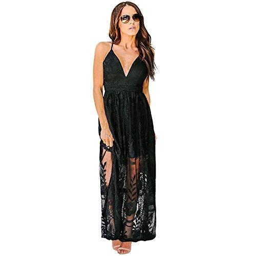 Mujer Verano Negro V Vestidos Encaje XINGMU Vestido Vestido De Profunda Largo De Malla xw4UqSYX
