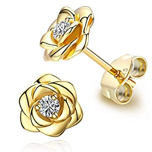 Gold Plated Sterling Silver Rose Flower Earring Studs, Hypoallergenic & Nickel Free Earrings for Women