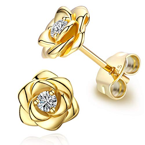 Yellow Gold Plated Sterling Silver Rose Flower Ear Studs, Hypoallergenic & Nickel Free Earrings for Women ()
