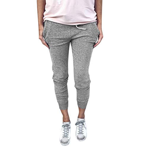 Price comparison product image ANJUNIE Women Casual Solid Straight Leg Jogger Pants Waistband Bandage Mid-Waist Trousers(Gray, M)
