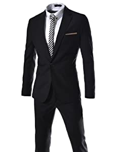 B00FWEER08 (JES187) TheLees Slim Fit Single Breasted 1 Button Notched Lapel Dress Suit Set BLACK