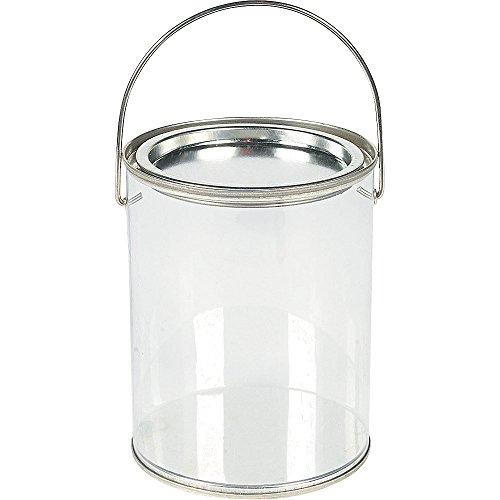 Plastic Clear Paint Can Container Craft Decorating Artist Buckets - Great for Party or Baby Shower Decorations
