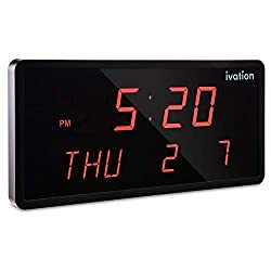 Ivation Big Oversized Digital Blue LED Calendar Clock with Day and Date - Shelf or Wall Mount (16 inches - Red LED)