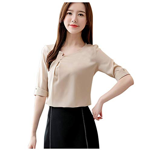NewKelly Sleeve Half All Women's Occupational Chiffon Knobs Puller Temperament Shirt Blouse O-Neck Beige from Newkly Cloth