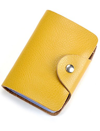 Aladin Unisex Small Leather Credit Card Holder with 26 Plastic Card Slots Yellow