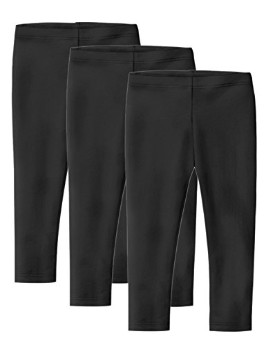 Clementine Apparel Toddler Girls' School and Workout 3 Pack, Black/Black/Black, 3T (Leggings Toddler Capri)