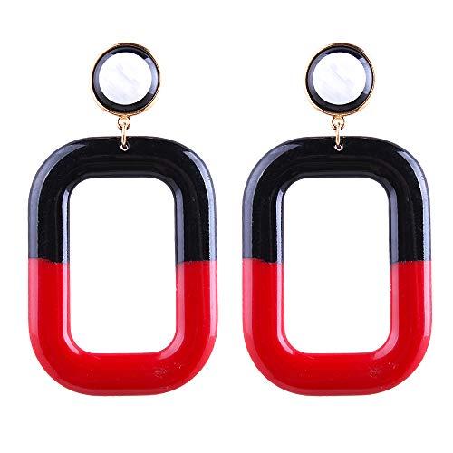 (Geometric Acrylic Drop Earrings Resin Charms Vintage Dangle Stud Earrings for Women Girls (A))