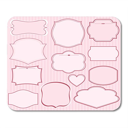 Boszina Mouse Pads Wedding Black Border of Pink Frames and Ornaments with Text Perfect As Announcement Elegant Scroll Mouse Pad for notebooks,Desktop Computers mats 9.5