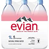 evian Natural Spring Water 1 Liter (Pack of 6), Naturally Filtered Spring Water, Naturally Filtered Spring Water in Large Bot