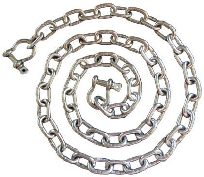 """8mm Stainless Steel 316 Anchor Chain 5//16/"""" by 8/' long with quality shackles"""