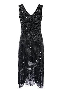 S-3xl Women's 1920s Gatsby Cocktail Sequin Beaded V-Neck Fringed Tassels Hem Flapper Dress