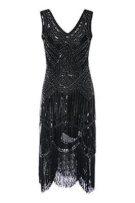 Zhisheng You Roaring 20s Women's Vintage 1920s Sequin Beaded Tassels Flapper Dress V-Neck Fringed Gatsby Costume Dress