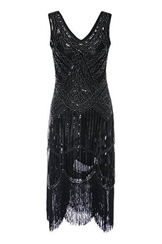 Zhisheng You 1920s Gastby Sequined Embellished Fringed Vintage Hem Flapper Dress (XXL, Black)