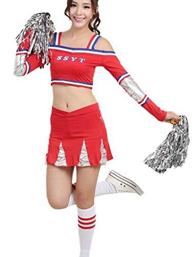 Woo2u Football Girl Sexy Cheerleader Costume Aerobics Cheerleaders Skirt L (Sexy Cheerleaders Costume)
