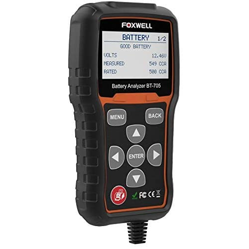 Image of Battery Testers Battery Tester FOXWELL BT705 Automotive 100-2000 CCA Battery Load Tester, 12V 24V Car Cranking and Charging System Test Scan Tool Digital Battery Analyzer for Cars and Heavy Duty Trucks
