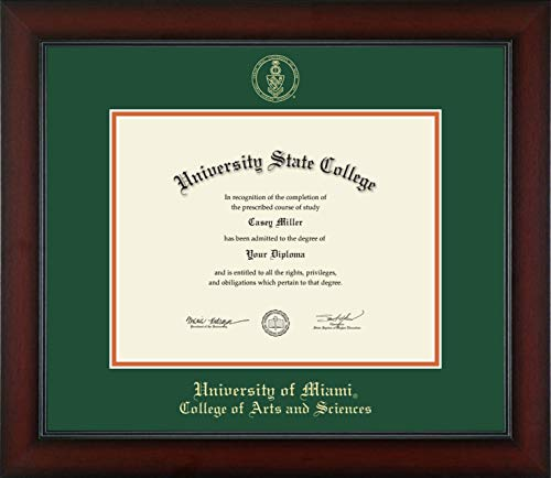 - University of Miami College of Arts and Sciences - Officially Licensed - Gold Embossed Diploma Frame - Diploma Size 11