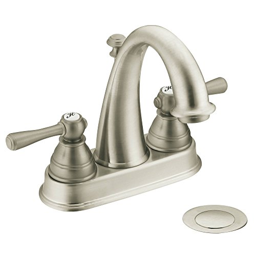 Moen 6121BN Kingsley Two-Handle High-Arc Bathroom Centerset Faucet with Drain Assembly, Brushed Nickel
