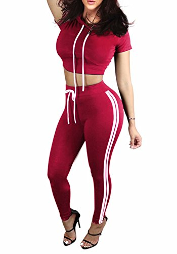 (Women's 2 Piece Outfits Tracksuits Hooded Tops and Skinny Pants Jog Set Red S )
