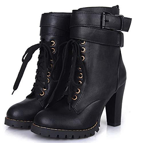 Talon Mode Bottine Femme Boots À Noir Haut Lanière Aisun Low Pwq5Yx7