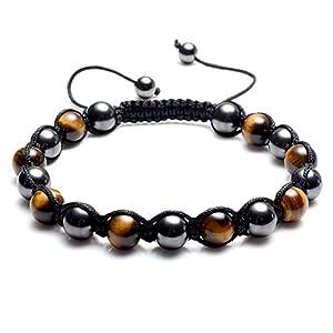 Top Plaza Men Women Reiki Healing Energy Natural Tiger Eye Stone Magnetic Hematite Therapy Beads Macrame Adjustable Braided Link Bracelet