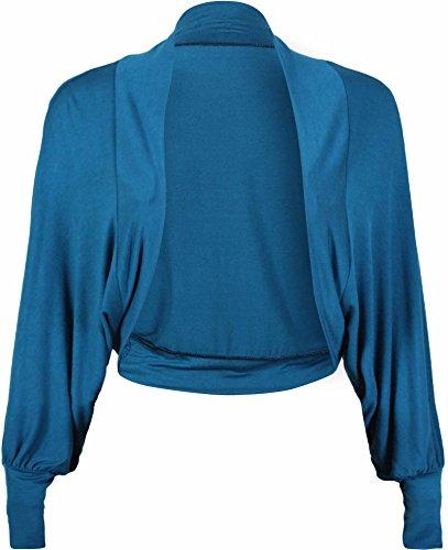 Nuevas señoras Batwing Bolero recortada Cardigan de manga larga para mujer Plain Jersey elástico Bolero Top Teal
