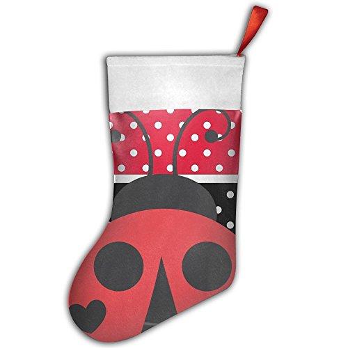 KSSChr Red and Black Stripe Speckle Ladybirds Christmas Stocking Home Party Decorate