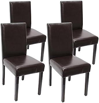 Mendler Lot de 4 chaises de séjour Littau, Cuir reconstitué, Marron, Pieds foncés