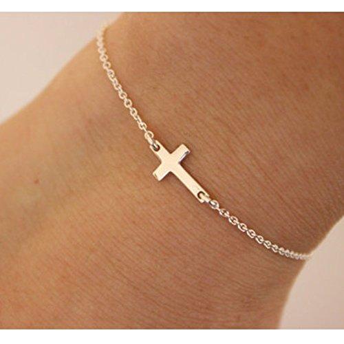 shoppingmal Gold Silver Chain Love Jesus Bracelets For Women Charm Cruz Bracelet Femme Pulseira Feminina Pulseras Simple Jewelry Bijoux