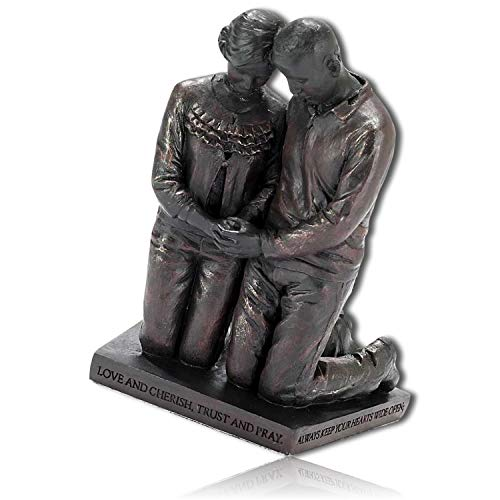 mySimpleProduct.Shop Praying Couple Man Woman Husband Wife Kneeling Holding Hands Marriage Religious Religion Heaven God Forgiveness Statue Figurine Sculpture + Certificate (Religious Sculpture)