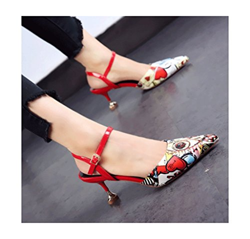 Dream Elegant Feminine Graffiti Naked High Heels Pointed-Toe Stiletto Heel Pointed Roman Shoes Ladies Shoes (Color : Red, Size : 36)