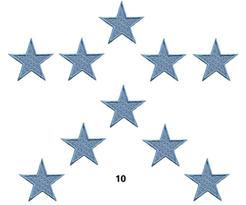 A-33, Iron on patches 10 light Blue Star Applique Embroidered Sew Iron on Patch (Applique Star)