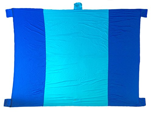 Kilimanjaros Sand Proof Anchoring Outdoor Blanket Heavy Duty Rip-Stop Nylon Blue 9ft x 7ft