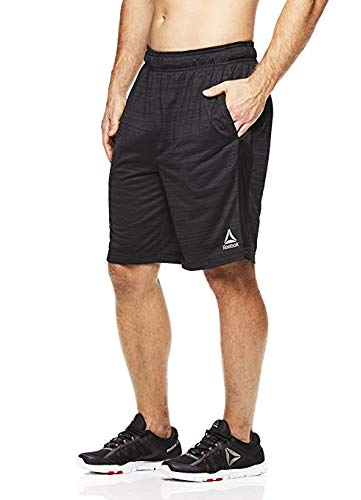 Reebok Men's Drawstring Shorts - Athletic Running & Workout Short w/Pockets - Push Set Ebony Grey, X-Large