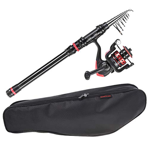 CAPACI Fishing Rod Reel Combos Carbon Fiber Protable Telescopic Fishing Pole with Full Kits Carrier Bag for Travel Saltwater Freshwater (Rod and Reel Combo with Carrier Bag, 1.8m/5.91ft)