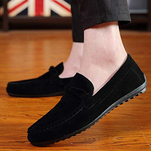 Alpargatas Zapatillas Negro De Mocasines Hombres Qinmm Gamuza Plano Sólido Casual Zapatos Para Pq8AzwqT