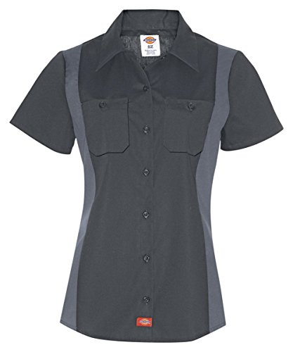 Corta Bloque De Color Negro Fs524 Camisa Dickies Del Mujeres Y Industrial Gris Manga zqX6EEIwx