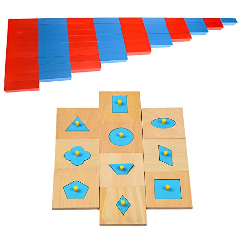 Jili Online Wooden Montessori Mathematics Material - Numerical Rods Family Set and 10 Pieces Geometric Figures Shaped Ped Puzzles Kids Toy Christmas Gift