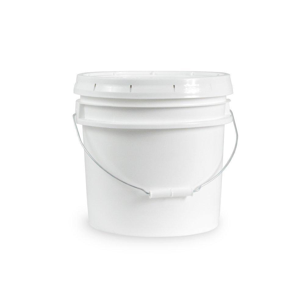 Ropak USA 5 gallon Food Grade White Plastic Bucket with Handle & Lid - Set of 3