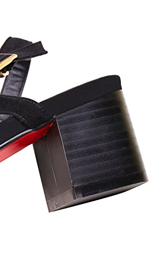 BalaMasa Girls Chunky Heels Open-Toe Soft Material Sandals Black 3xF6AQC