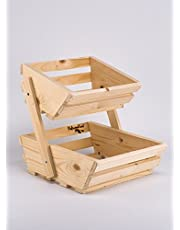 2 Tier Small Wooden Vegetable Fruit Food Storage Rack Angled