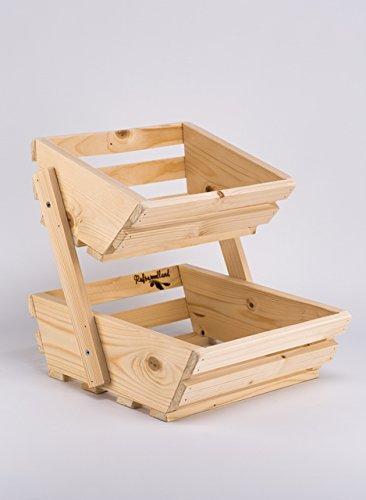 2 Tier Small Wooden Vegetable Fruit Food Storage Rack Angled: Amazon.co.uk:  Kitchen U0026 Home