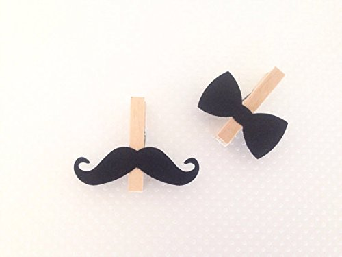 Mustache Bow Tie Clothespins Baby Shower Decoration Don't Say Baby Game Clips 12 Pins Little Man Diaper Cake Wedding Party Favors Drink Marker Place (Bow Ties And Mustaches Baby Shower)