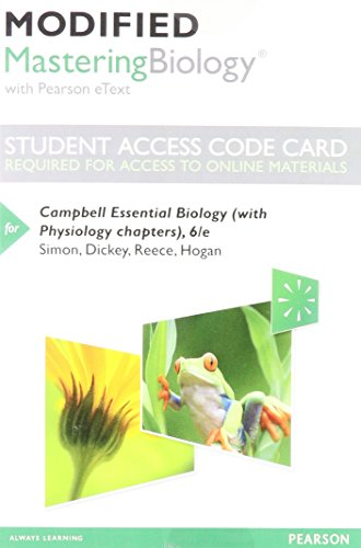 Modified Mastering Biology with Pearson eText -- Standalone Access Card -- for Campbell Essential Biology (with Physiolo