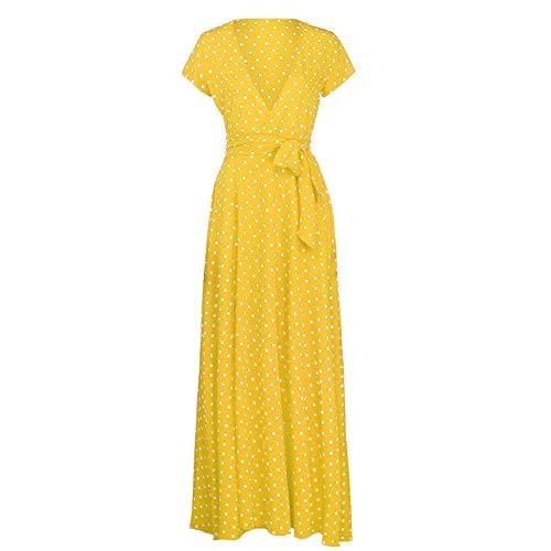 V Cóctel Falda Mujer Fiesta Elegante Bohemio Amarillo Escote Cuello Lunares Kinlene Vestido Casual Dress Manga Corta Playa Largos qaSP4Y