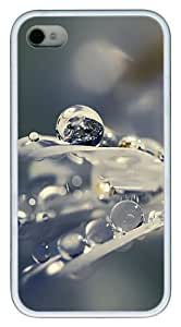 iPhone 4S Case, Earth Water Drops TPU Custom iPhone 4/4S Case Cover Whtie