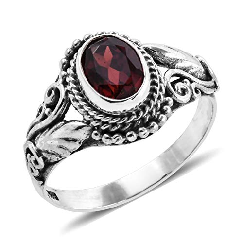 (Leaf Solitaire Ring 925 Sterling Silver Oval Garnet Gift Jewelry for Women Size 6 Cttw 1.2)
